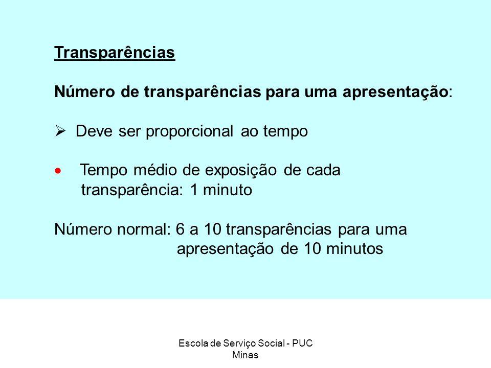 Escola de Serviço Social - PUC Minas Transparências Número de transparências para uma apresentação: Deve ser proporcional ao tempo Tempo médio de expo