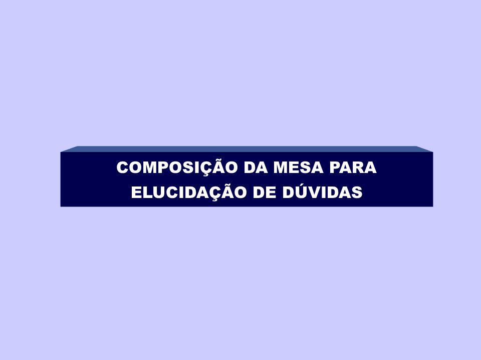 COMPOSIÇÃO DA MESA PARA ELUCIDAÇÃO DE DÚVIDAS