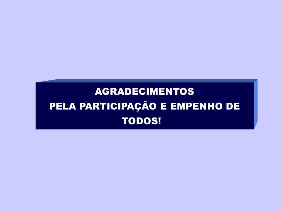 AGRADECIMENTOS PELA PARTICIPAÇÃO E EMPENHO DE TODOS!