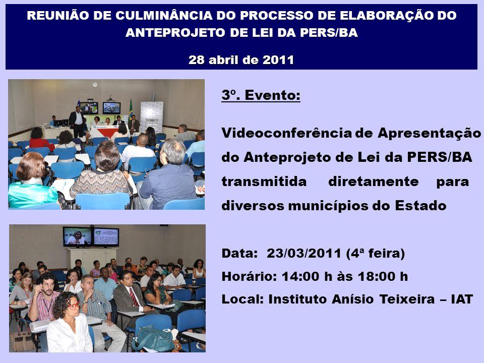 3º. Evento: Videoconferência de Apresentação do Anteprojeto de Lei da PERS/BA transmitida diretamente para diversos municípios do Estado Data: 23/03/2