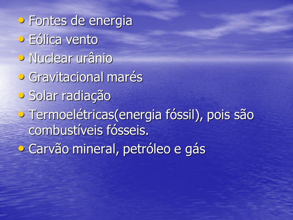 Fontes de energia Fontes de energia Eólica vento Eólica vento Nuclear urânio Nuclear urânio Gravitacional marés Gravitacional marés Solar radiação Solar radiação Termoelétricas(energia fóssil), pois são combustíveis fósseis.
