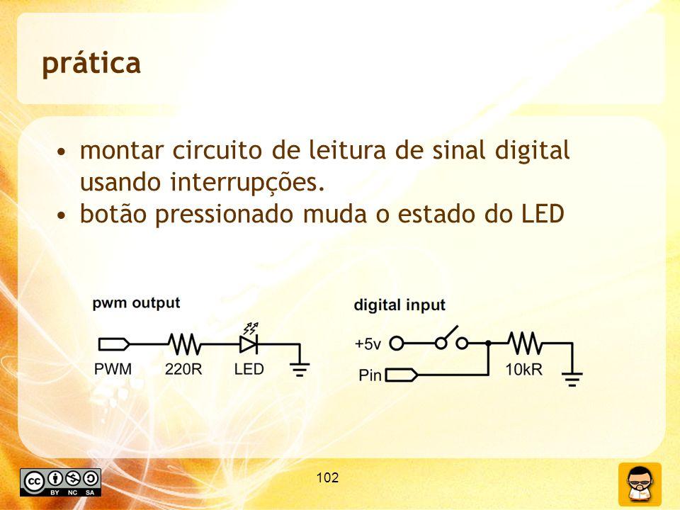 102 prática montar circuito de leitura de sinal digital usando interrupções. botão pressionado muda o estado do LED