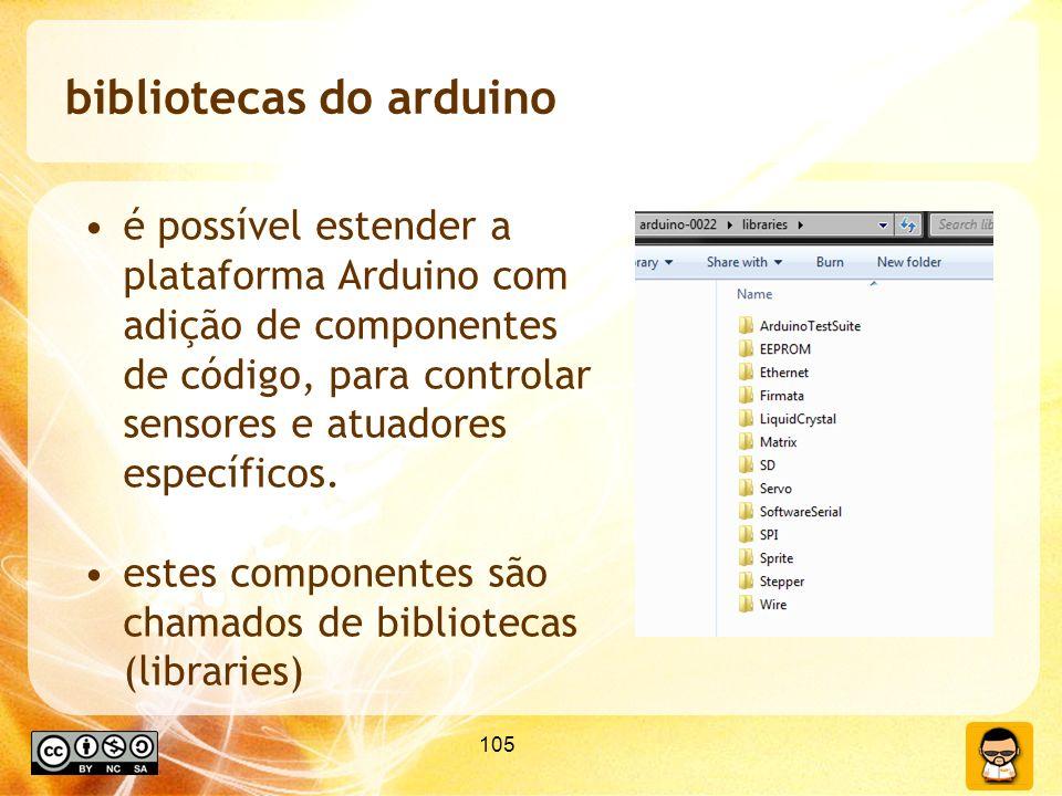105 bibliotecas do arduino é possível estender a plataforma Arduino com adição de componentes de código, para controlar sensores e atuadores específic