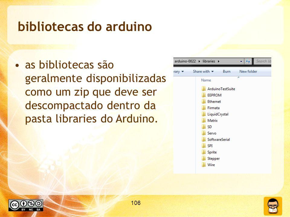 106 bibliotecas do arduino as bibliotecas são geralmente disponibilizadas como um zip que deve ser descompactado dentro da pasta libraries do Arduino.