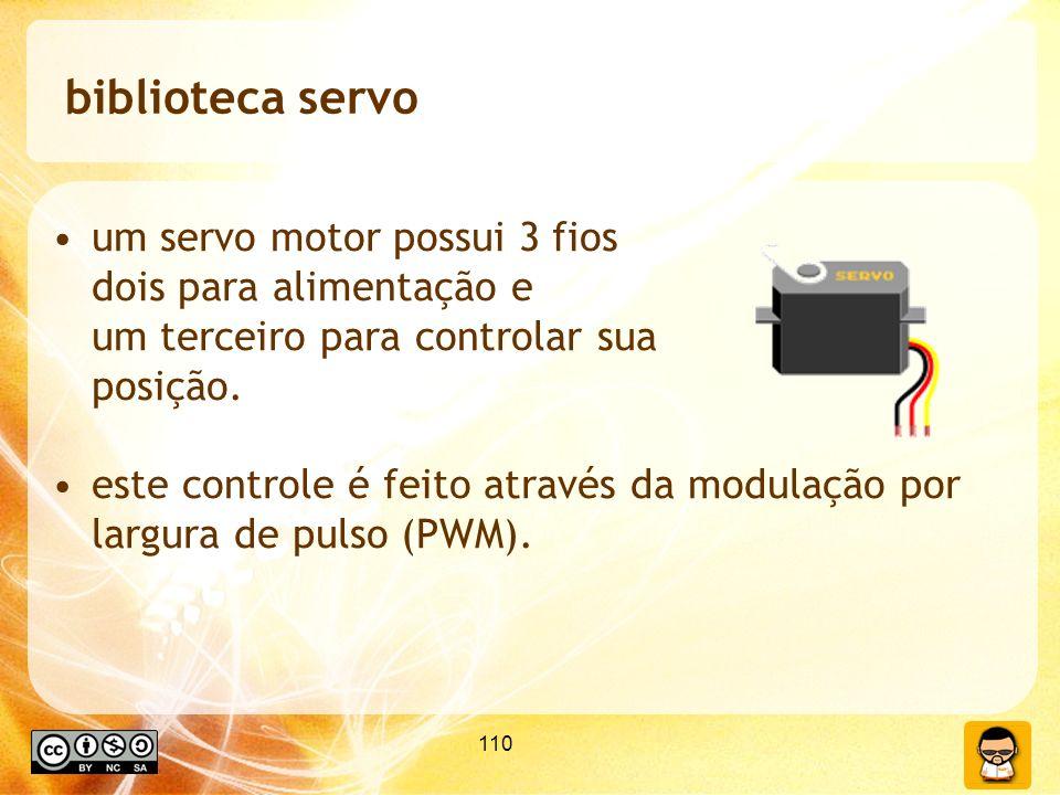 110 biblioteca servo um servo motor possui 3 fios dois para alimentação e um terceiro para controlar sua posição. este controle é feito através da mod