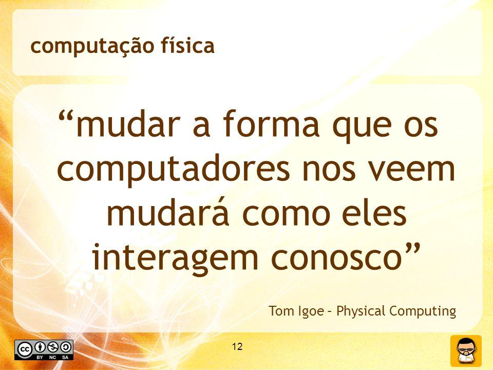 12 computação física mudar a forma que os computadores nos veem mudará como eles interagem conosco Tom Igoe – Physical Computing