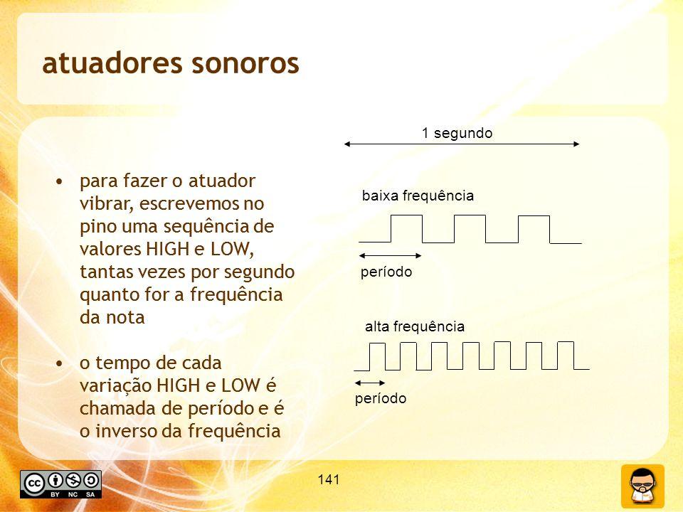 141 atuadores sonoros para fazer o atuador vibrar, escrevemos no pino uma sequência de valores HIGH e LOW, tantas vezes por segundo quanto for a frequência da nota o tempo de cada variação HIGH e LOW é chamada de período e é o inverso da frequência baixa frequência alta frequência período 1 segundo para fazer o atuador vibrar, escrevemos no pino uma sequência de valores HIGH e LOW, tantas vezes por segundo quanto for a frequência da nota o tempo de cada variação HIGH e LOW é chamada de período e é o inverso da frequência