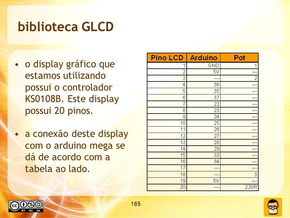165 biblioteca GLCD o display gráfico que estamos utilizando possui o controlador KS0108B. Este display possui 20 pinos. a conexão deste display com o