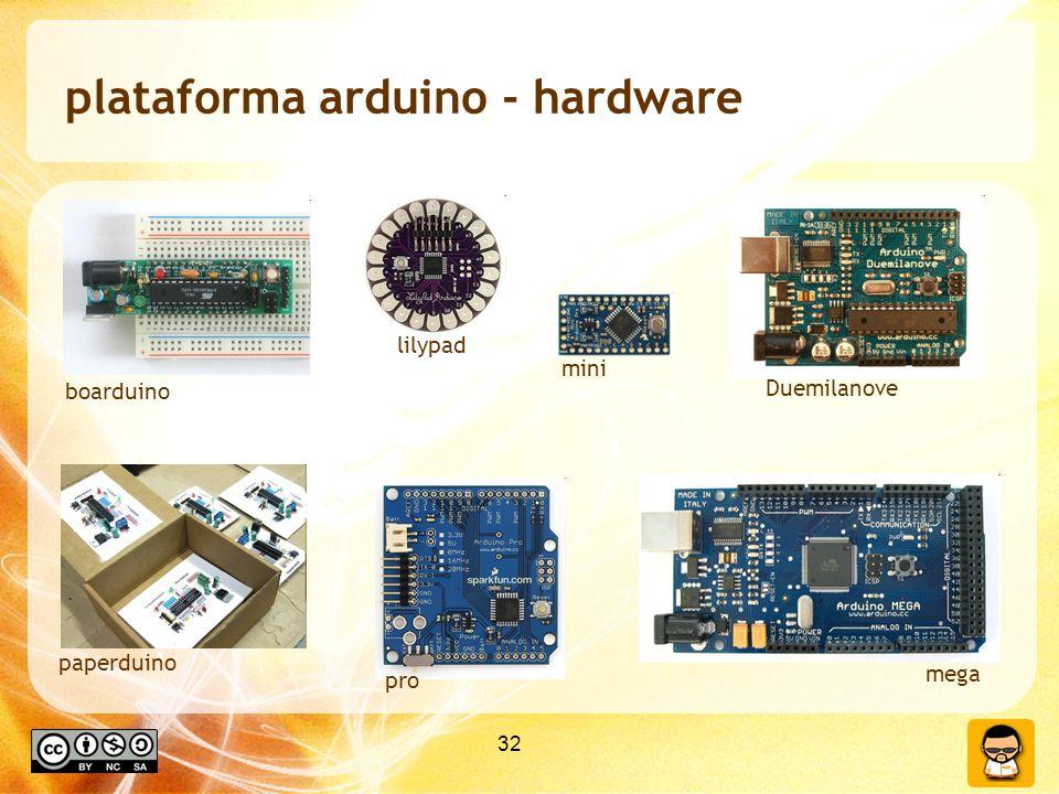 32 plataforma arduino - hardware Duemilanove mini lilypad boarduino paperduino mega pro
