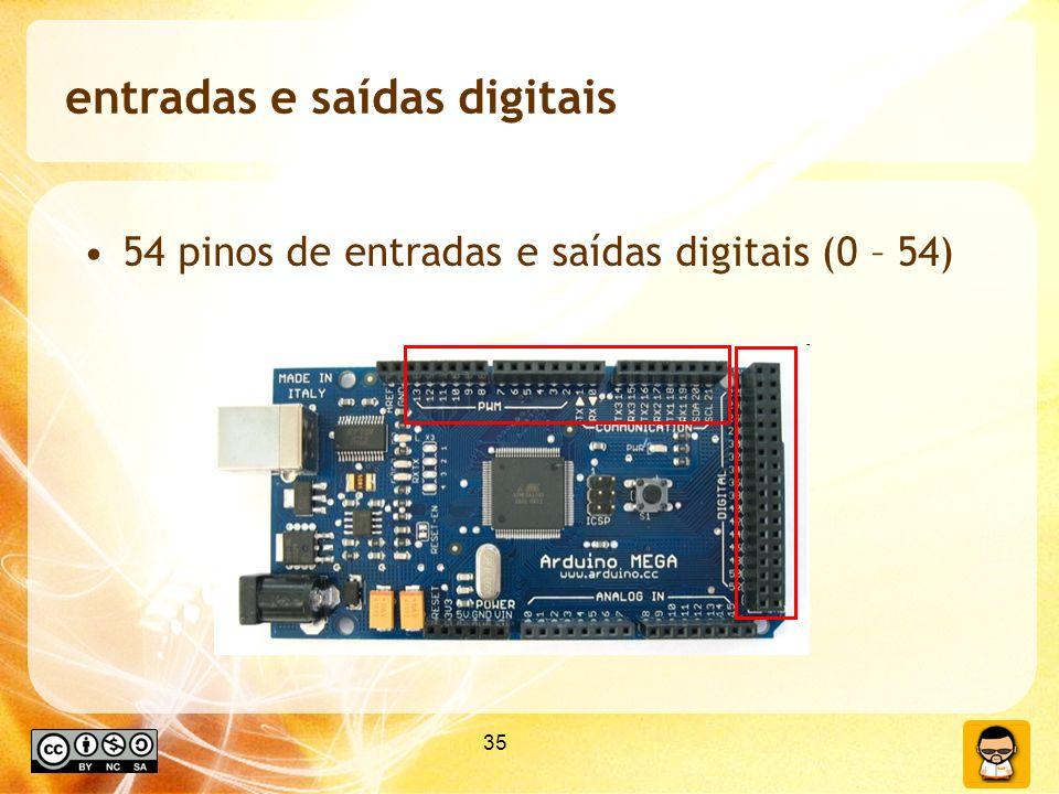 35 entradas e saídas digitais 54 pinos de entradas e saídas digitais (0 – 54)