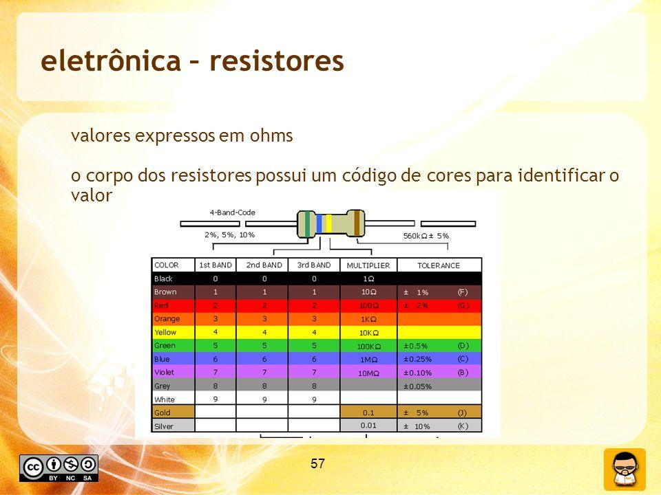 57 eletrônica – resistores valores expressos em ohms o corpo dos resistores possui um código de cores para identificar o valor