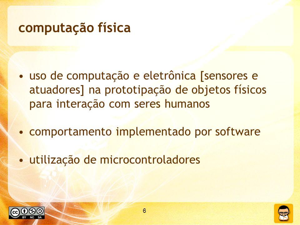 6 uso de computação e eletrônica [sensores e atuadores] na prototipação de objetos físicos para interação com seres humanos comportamento implementado por software utilização de microcontroladores