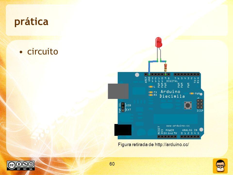 60 prática circuito Figura retirada de http://arduino.cc/