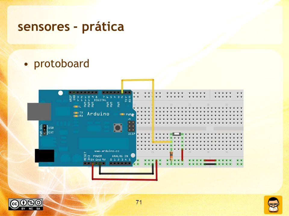 71 sensores - prática protoboard