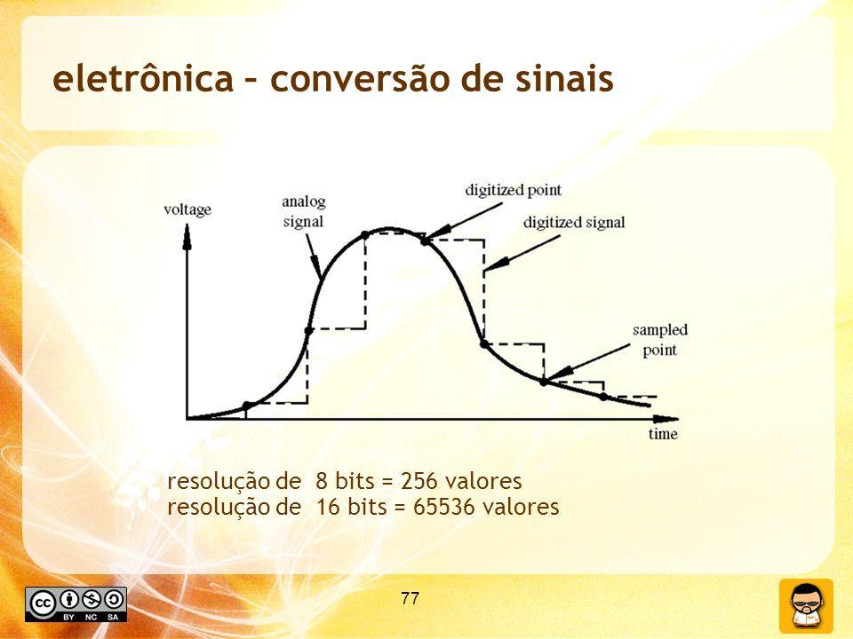 77 eletrônica – conversão de sinais resolução de 8 bits = 256 valores resolução de 16 bits = 65536 valores