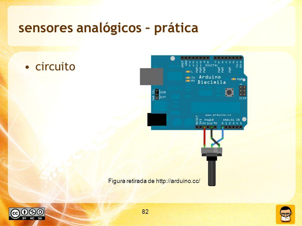 82 sensores analógicos – prática circuito Figura retirada de http://arduino.cc/