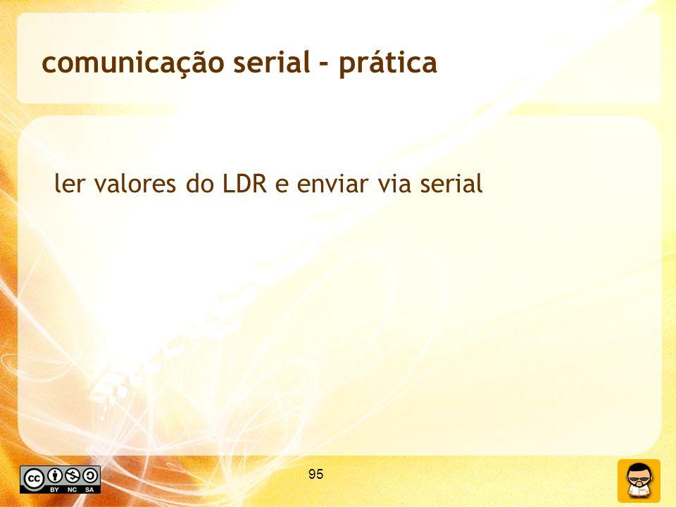 95 comunicação serial - prática ler valores do LDR e enviar via serial