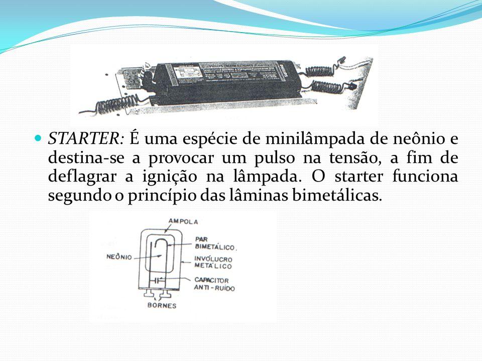 STARTER: É uma espécie de minilâmpada de neônio e destina-se a provocar um pulso na tensão, a fim de deflagrar a ignição na lâmpada. O starter funcion