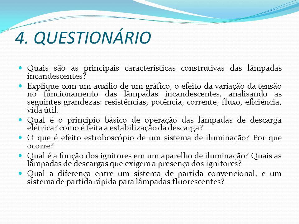 4. QUESTIONÁRIO Quais são as principais características construtivas das lâmpadas incandescentes? Explique com um auxílio de um gráfico, o efeito da v