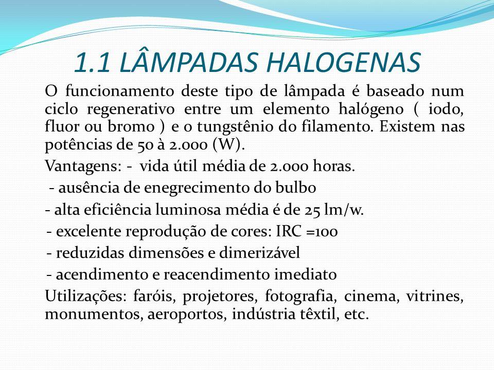1.1 LÂMPADAS HALOGENAS O funcionamento deste tipo de lâmpada é baseado num ciclo regenerativo entre um elemento halógeno ( iodo, fluor ou bromo ) e o