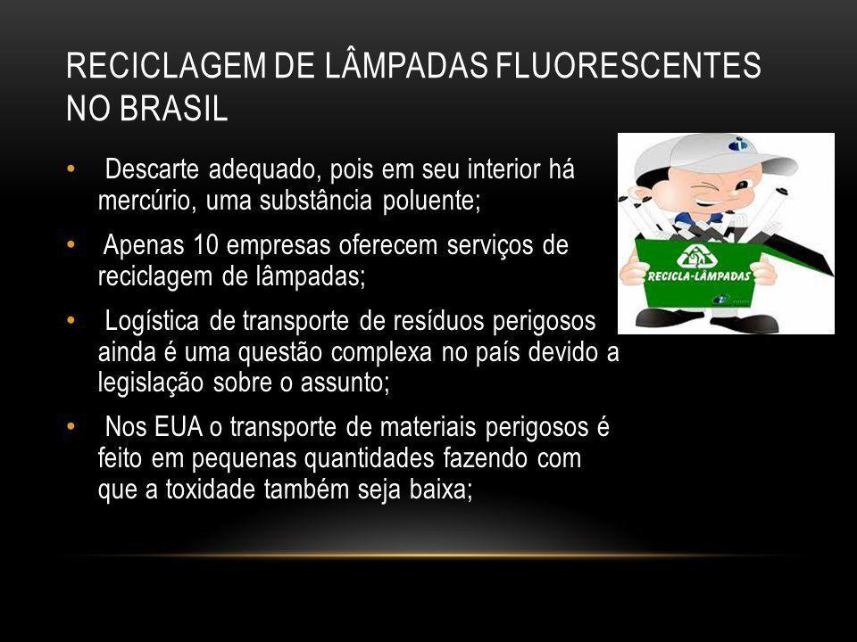 RECICLAGEM DE LÂMPADAS FLUORESCENTES NO BRASIL Descarte adequado, pois em seu interior há mercúrio, uma substância poluente; Apenas 10 empresas oferec