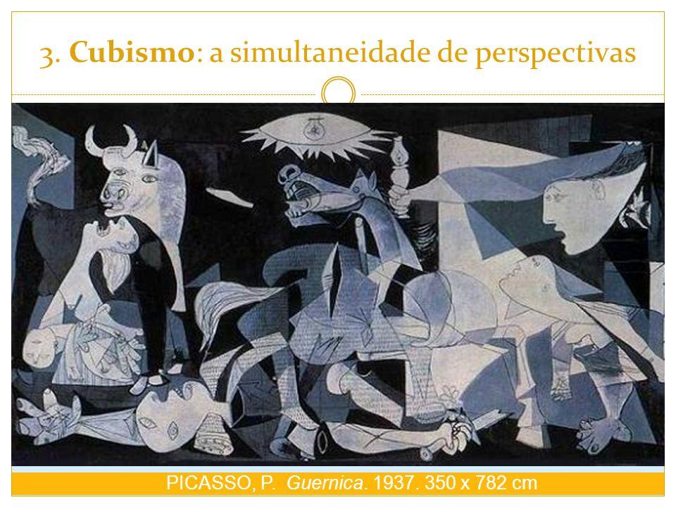 3. Cubismo: a simultaneidade de perspectivas PICASSO, P. Guernica. 1937. 350 x 782 cm