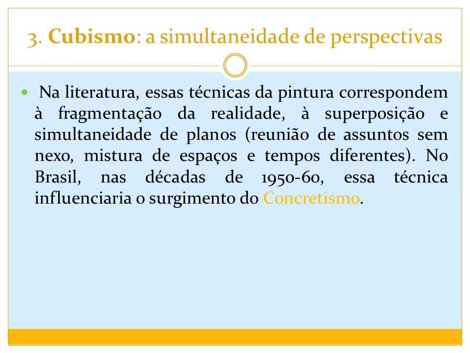 3. Cubismo: a simultaneidade de perspectivas Na literatura, essas técnicas da pintura correspondem à fragmentação da realidade, à superposição e simul