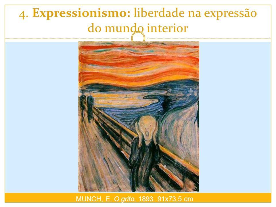 4. Expressionismo: liberdade na expressão do mundo interior MUNCH, E. O grito. 1893. 91x73,5 cm