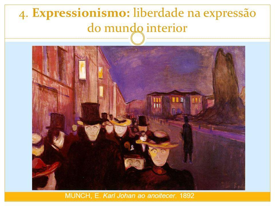 4. Expressionismo: liberdade na expressão do mundo interior MUNCH, E. Karl Johan ao anoitecer. 1892
