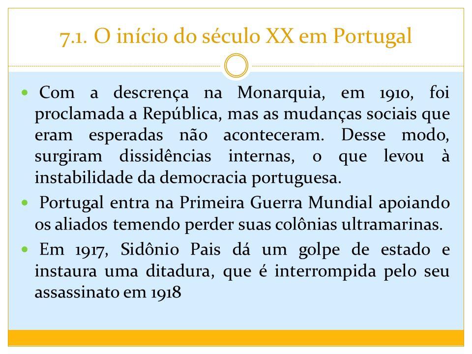 7.1. O início do século XX em Portugal Com a descrença na Monarquia, em 1910, foi proclamada a República, mas as mudanças sociais que eram esperadas n