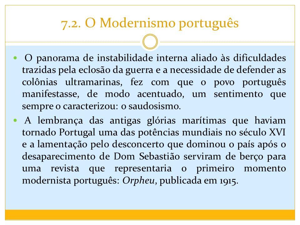 7.2. O Modernismo português O panorama de instabilidade interna aliado às dificuldades trazidas pela eclosão da guerra e a necessidade de defender as