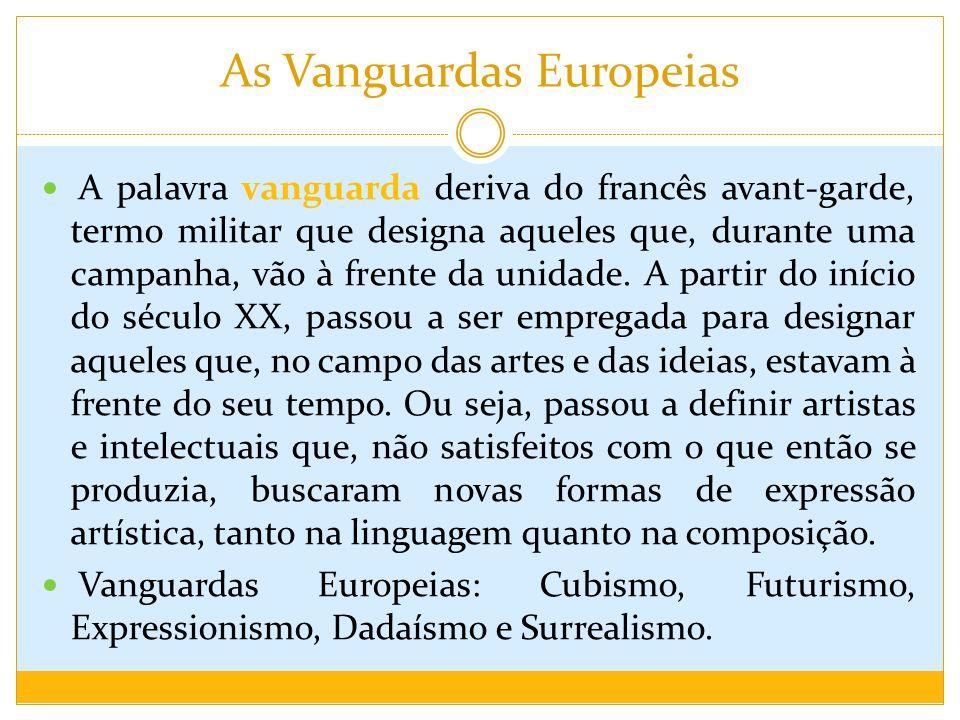 As Vanguardas Europeias A palavra vanguarda deriva do francês avant-garde, termo militar que designa aqueles que, durante uma campanha, vão à frente d