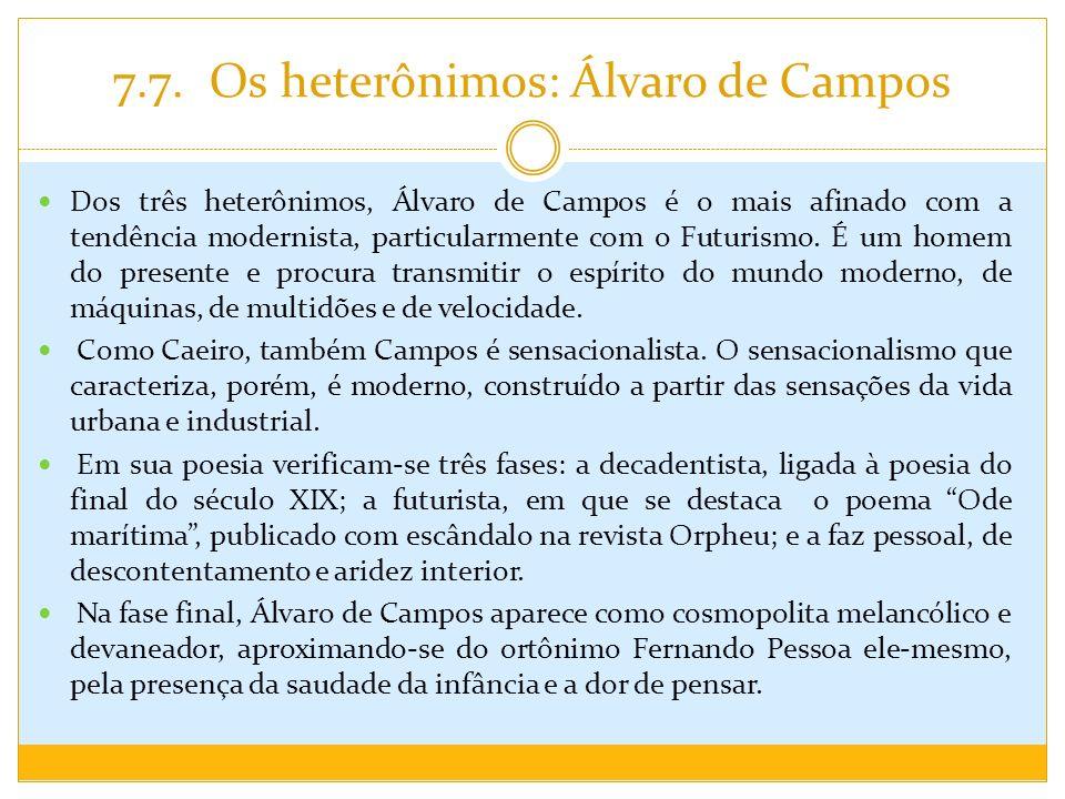 7.7. Os heterônimos: Álvaro de Campos Dos três heterônimos, Álvaro de Campos é o mais afinado com a tendência modernista, particularmente com o Futuri