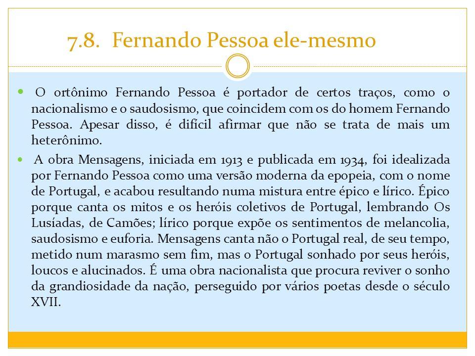 7.8. Fernando Pessoa ele-mesmo O ortônimo Fernando Pessoa é portador de certos traços, como o nacionalismo e o saudosismo, que coincidem com os do hom