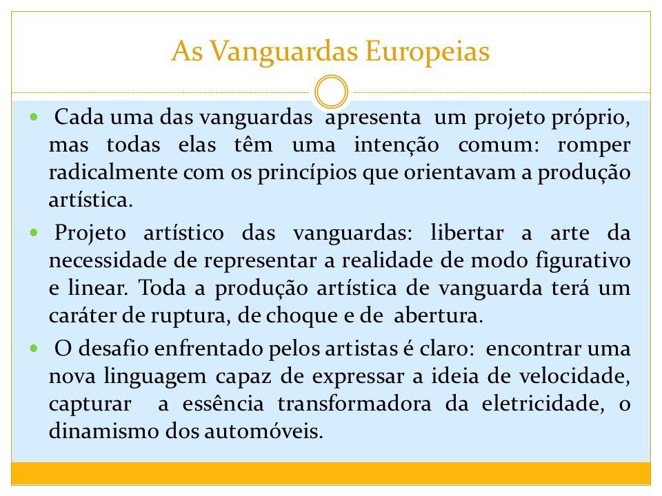 As Vanguardas Europeias Cada uma das vanguardas apresenta um projeto próprio, mas todas elas têm uma intenção comum: romper radicalmente com os princí