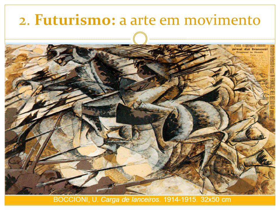 2. Futurismo: a arte em movimento BOCCIONI, U. Carga de lanceiros. 1914-1915. 32x50 cm
