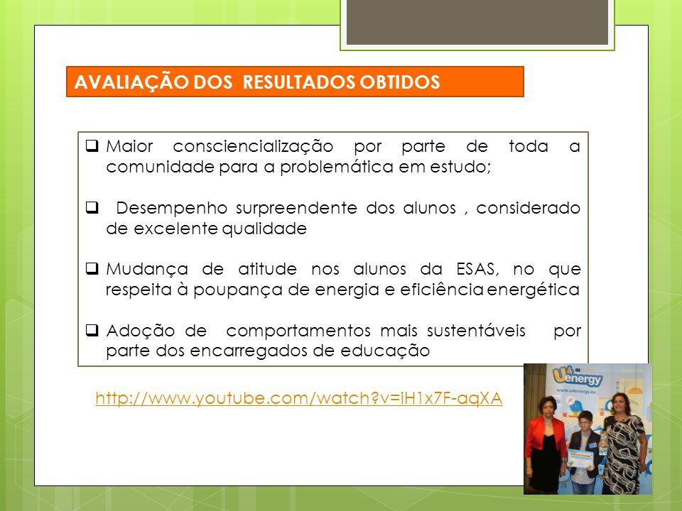 Maior consciencialização por parte de toda a comunidade para a problemática em estudo; Desempenho surpreendente dos alunos, considerado de excelente qualidade Mudança de atitude nos alunos da ESAS, no que respeita à poupança de energia e eficiência energética Adoção de comportamentos mais sustentáveis por parte dos encarregados de educação AVALIAÇÃO DOS RESULTADOS OBTIDOS http://www.youtube.com/watch v=iH1x7F-aqXA