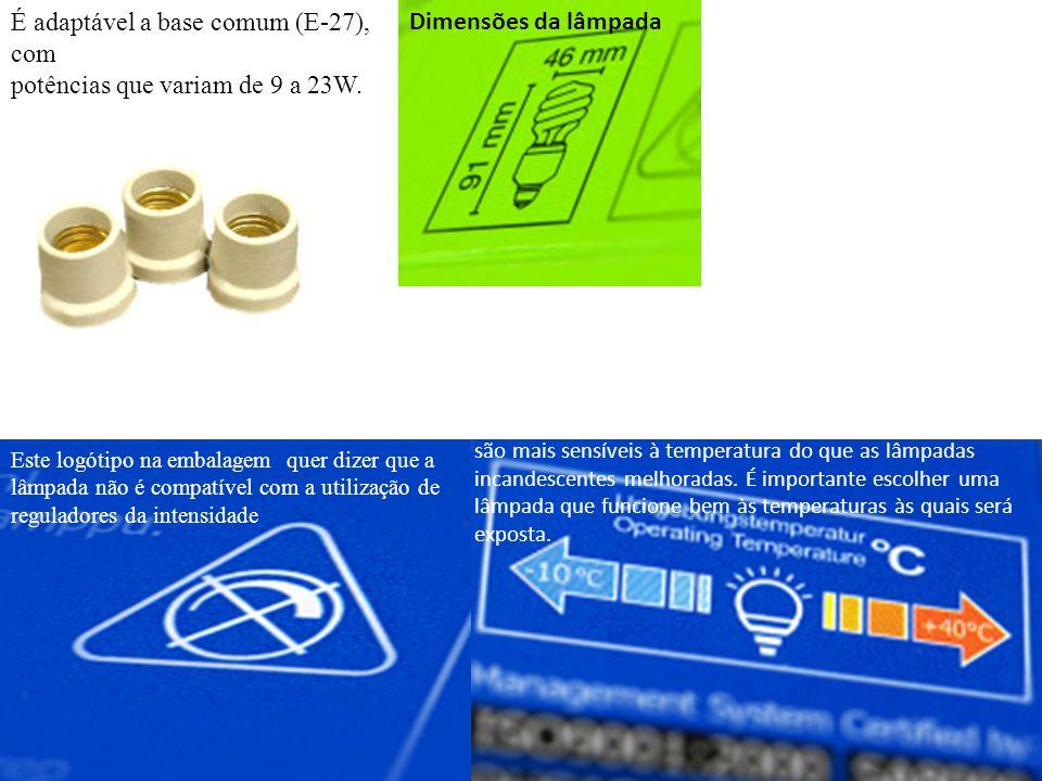 É adaptável a base comum (E-27), com potências que variam de 9 a 23W. Este logótipo na embalagem quer dizer que a lâmpada não é compatível com a utili