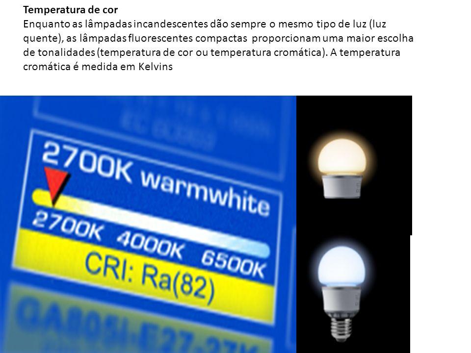 Temperatura de cor Enquanto as lâmpadas incandescentes dão sempre o mesmo tipo de luz (luz quente), as lâmpadas fluorescentes compactas proporcionam u