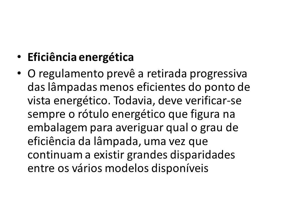 Eficiência energética O regulamento prevê a retirada progressiva das lâmpadas menos eficientes do ponto de vista energético. Todavia, deve verificar-s