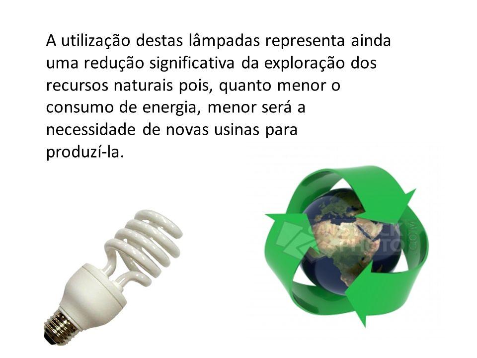 A utilização destas lâmpadas representa ainda uma redução significativa da exploração dos recursos naturais pois, quanto menor o consumo de energia, m
