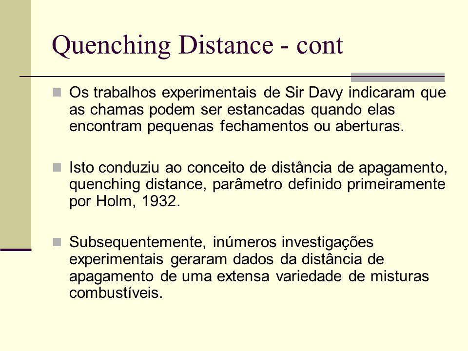 Quenching Distance - cont Os trabalhos experimentais de Sir Davy indicaram que as chamas podem ser estancadas quando elas encontram pequenas fechament
