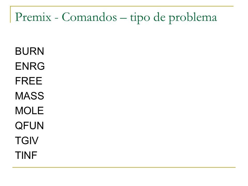 Premix - Comandos – tipo de problema BURN ENRG FREE MASS MOLE QFUN TGIV TINF