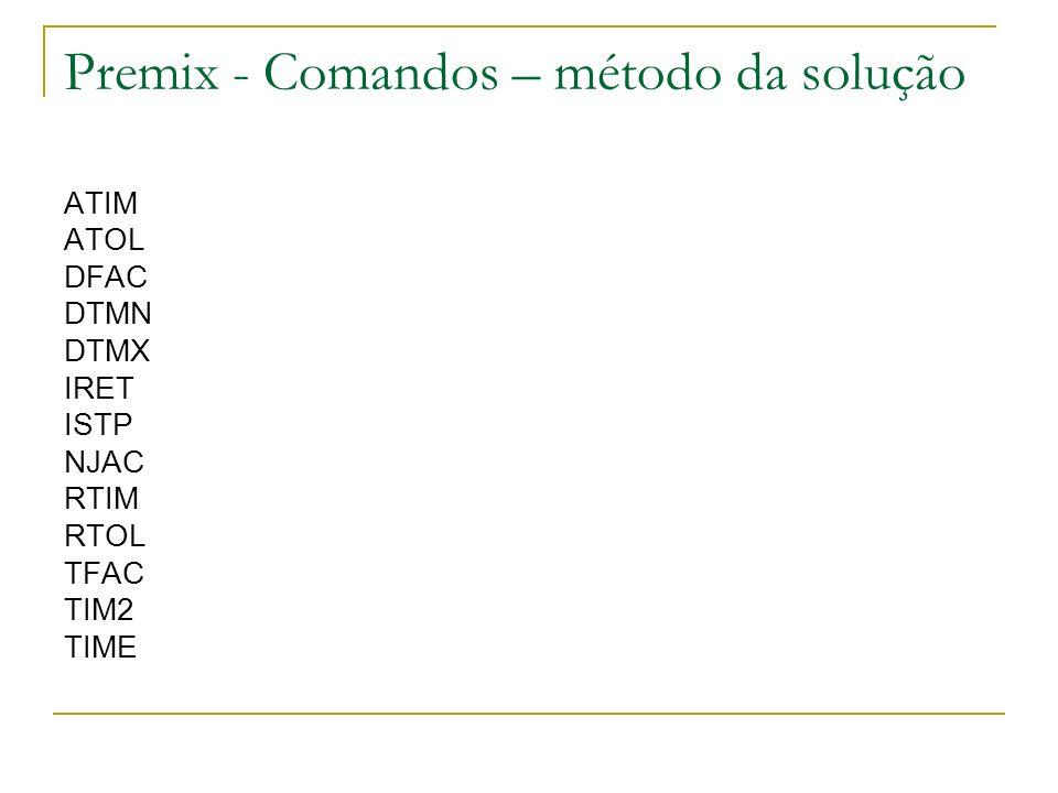 Premix - Comandos – método da solução ATIM ATOL DFAC DTMN DTMX IRET ISTP NJAC RTIM RTOL TFAC TIM2 TIME