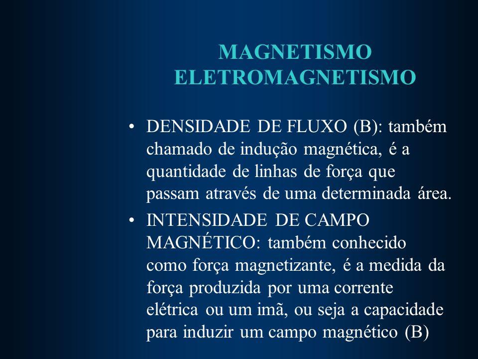 MAGNETISMO ELETROMAGNETISMO DENSIDADE DE FLUXO (B): também chamado de indução magnética, é a quantidade de linhas de força que passam através de uma determinada área.