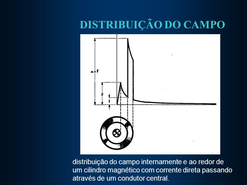 DISTRIBUIÇÃO DO CAMPO distribuição do campo internamente e ao redor de um cilindro magnético com corrente direta passando através de um condutor centr