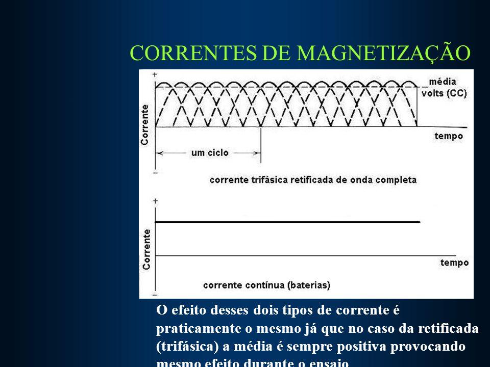 CORRENTES DE MAGNETIZAÇÃO Corrente alternada O efeito desses dois tipos de corrente é praticamente o mesmo já que no caso da retificada (trifásica) a média é sempre positiva provocando mesmo efeito durante o ensaio