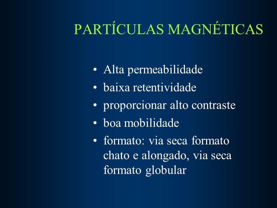 PARTÍCULAS MAGNÉTICAS Alta permeabilidade baixa retentividade proporcionar alto contraste boa mobilidade formato: via seca formato chato e alongado, via seca formato globular