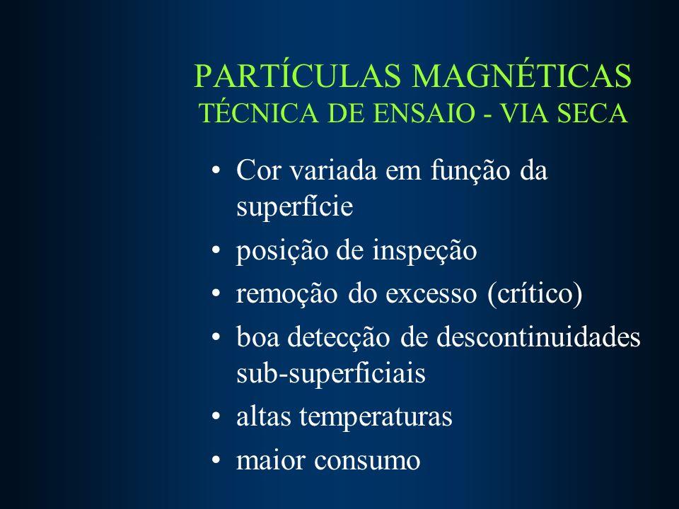 PARTÍCULAS MAGNÉTICAS TÉCNICA DE ENSAIO - VIA SECA Cor variada em função da superfície posição de inspeção remoção do excesso (crítico) boa detecção de descontinuidades sub-superficiais altas temperaturas maior consumo