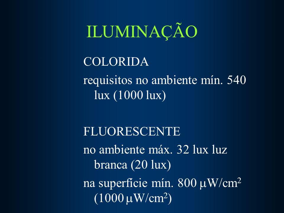 ILUMINAÇÃO COLORIDA requisitos no ambiente mín.540 lux (1000 lux) FLUORESCENTE no ambiente máx.